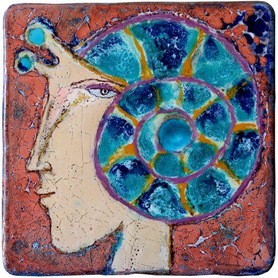 "Querubim Lapa (1925-2016) | Ceramic Wall Plaque ""Woman´s head-snail"", c.1970-75"