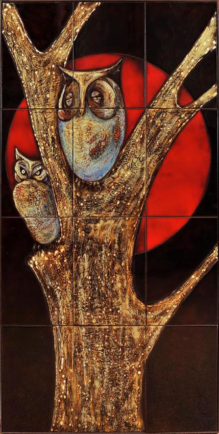 "Carlos Vizeu (1925-2012) | TILE PANEL ""Owl"", 1985"