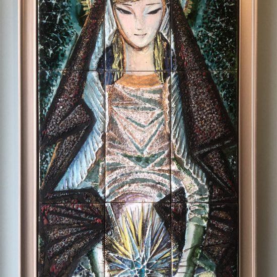 """Estrela Faria (1910-1976)   TILE PANEL """"Nossa Senhora do Ó"""""""